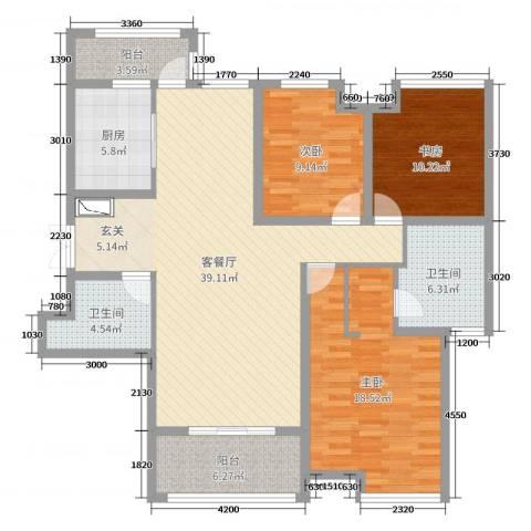 紫薇东进3室2厅2卫1厨135.00㎡户型图