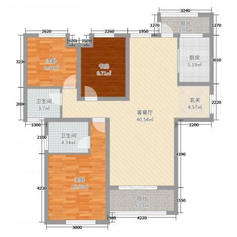 紫薇东进3室2厅2卫1厨128.00㎡户型图