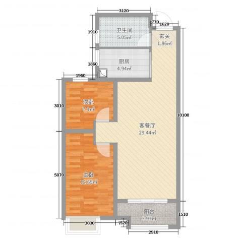 锦华广场2室2厅1卫1厨79.00㎡户型图