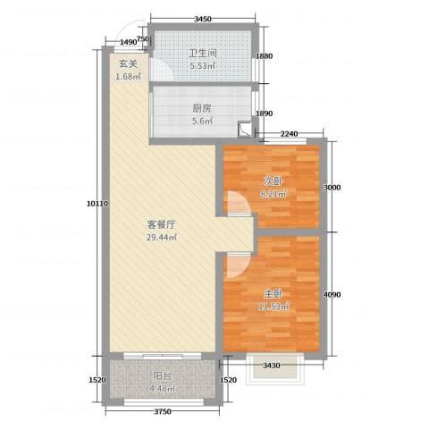 锦华广场2室2厅1卫1厨81.00㎡户型图