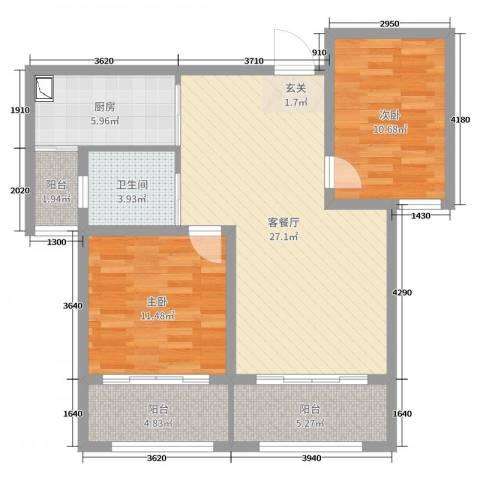 锦华广场2室2厅1卫1厨89.00㎡户型图