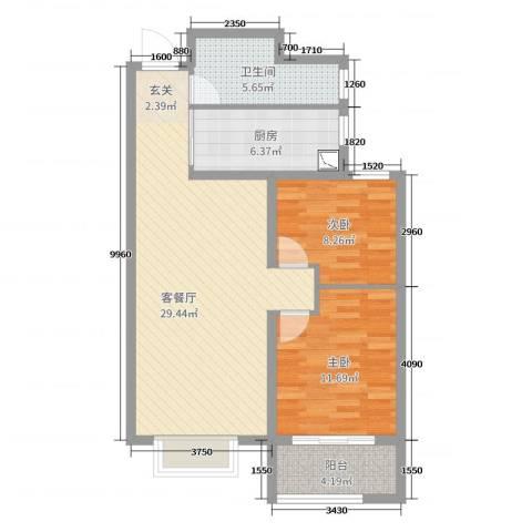 锦华广场2室2厅1卫1厨82.00㎡户型图