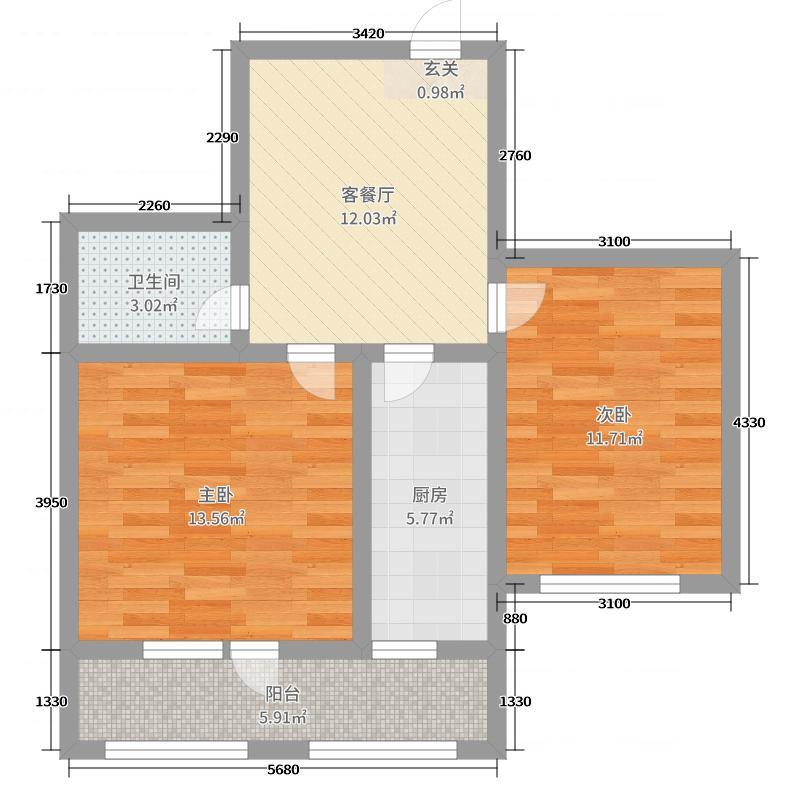 长堤湾65.00㎡G02户型2室2厅1卫1厨