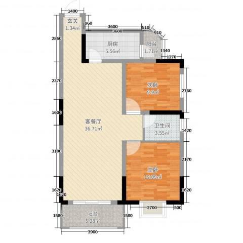 长虹百花沁苑2室2厅1卫1厨96.00㎡户型图