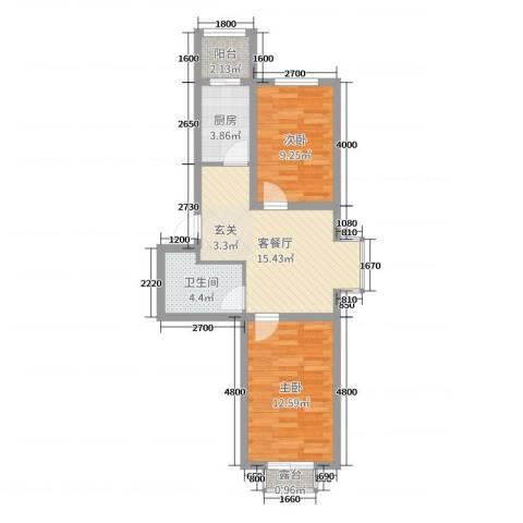 满融公馆2室2厅1卫1厨68.00㎡户型图