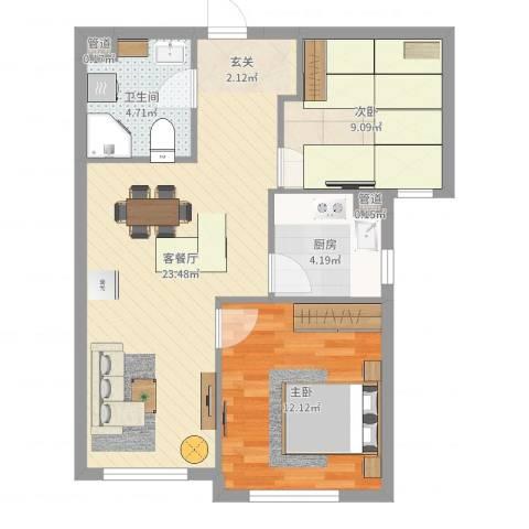 中信・御园2室2厅2卫1厨67.00㎡户型图