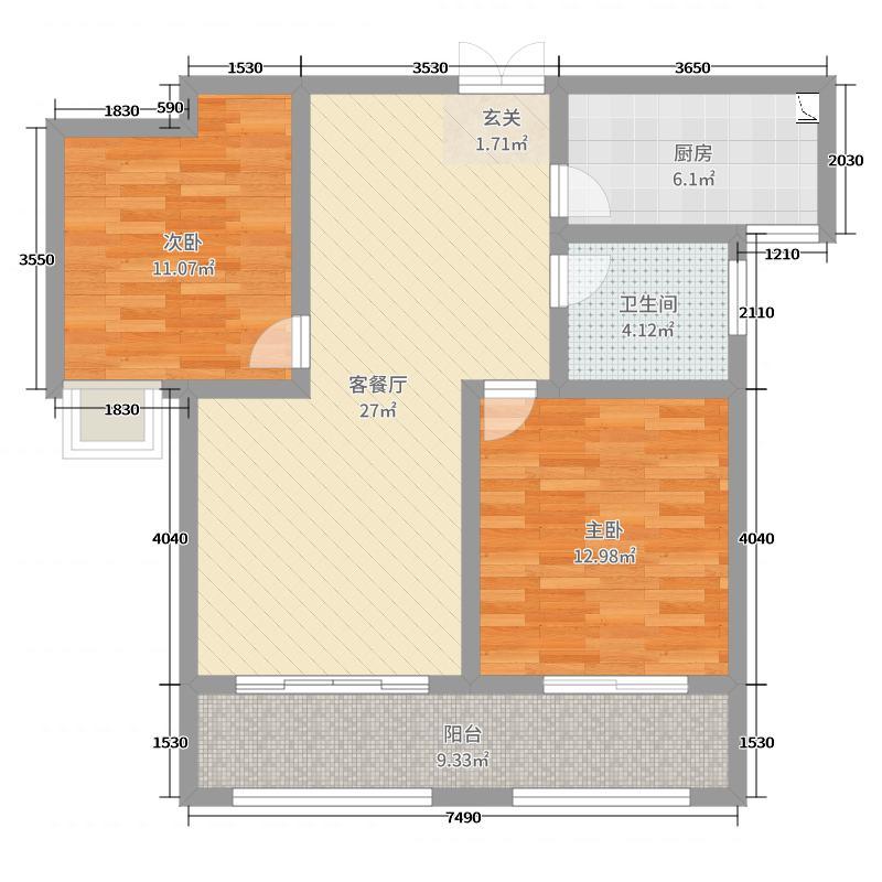 青枫壹号88.00㎡A户型2室2厅1卫1厨