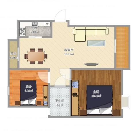 绿地上郡2室2厅1卫1厨54.00㎡户型图