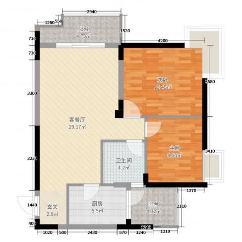 民福苑三期荷风苑2室2厅1卫1厨86.00㎡户型图
