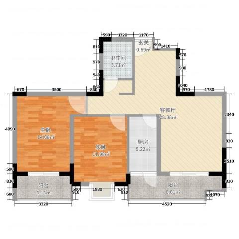 民福苑三期荷风苑2室2厅1卫1厨89.00㎡户型图