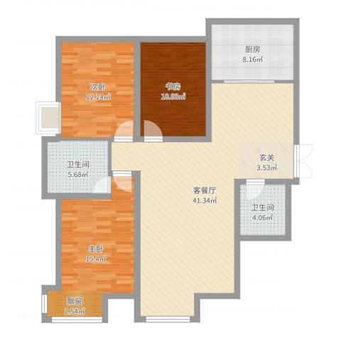 国奥现代城二期3室2厅2卫1厨122.00㎡户型图