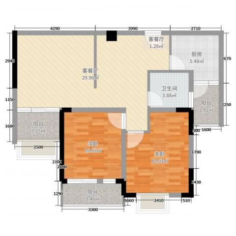 民福苑三期荷风苑2室2厅1卫1厨94.00㎡户型图