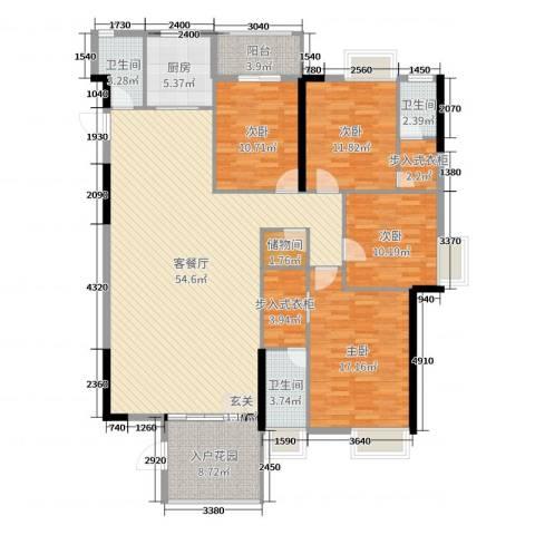 星汇国际4室2厅3卫1厨175.00㎡户型图