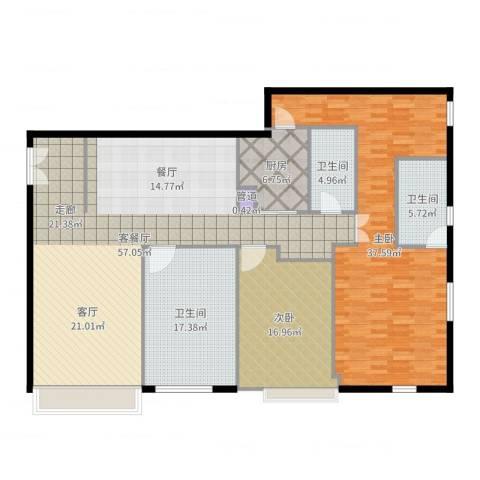 锦源国际公寓2室2厅3卫1厨184.00㎡户型图