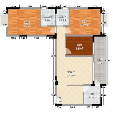 民福苑三期荷风苑3室2厅2卫1厨115.00㎡户型图
