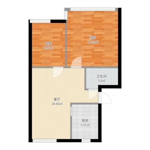 三里家园一区2室1厅1卫1厨70.00㎡户型图