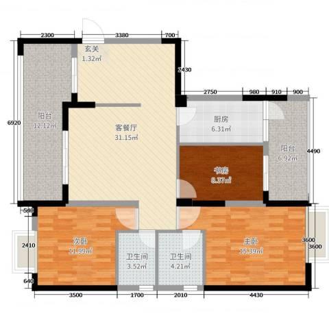 民福苑三期荷风苑3室2厅2卫1厨118.00㎡户型图