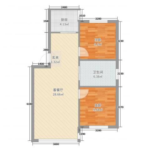 学府世家2室2厅1卫1厨72.00㎡户型图