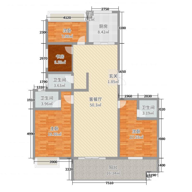 起点壹中心179.27㎡8#k-7户型4室4厅2卫1厨