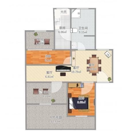 羽山路1000弄小区2室1厅1卫1厨95.00㎡户型图