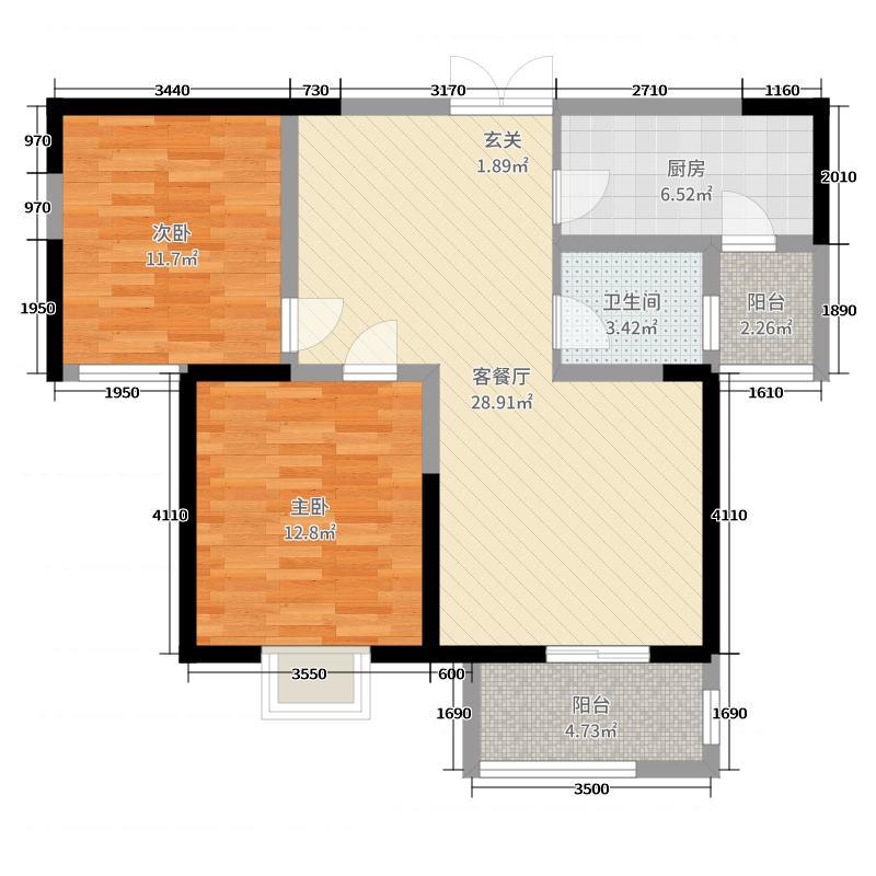 翰林国际城89.19㎡二期E户型2室2厅1卫1厨