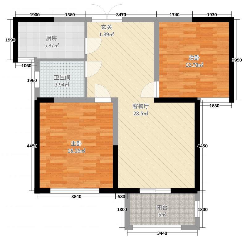 翰林国际城89.25㎡二期V户型2室2厅1卫1厨