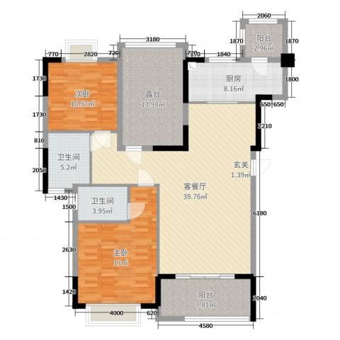 翰林国际2室2厅2卫1厨138.00㎡户型图