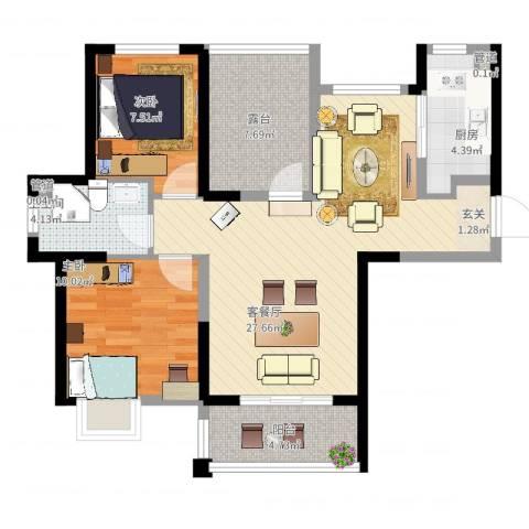 丰朔名仕豪庭2室2厅1卫1厨96.00㎡户型图