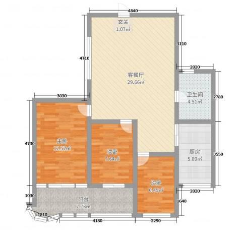 盛祥佳苑3室2厅1卫1厨93.00㎡户型图