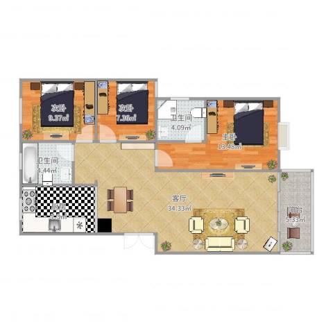 南星苑3室1厅2卫1厨85.70㎡户型图