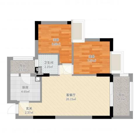 雅园新村2室2厅1卫1厨60.00㎡户型图