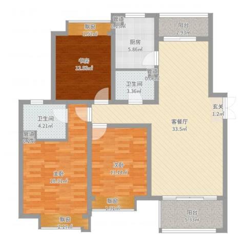 舜奥华府3室2厅2卫1厨124.00㎡户型图