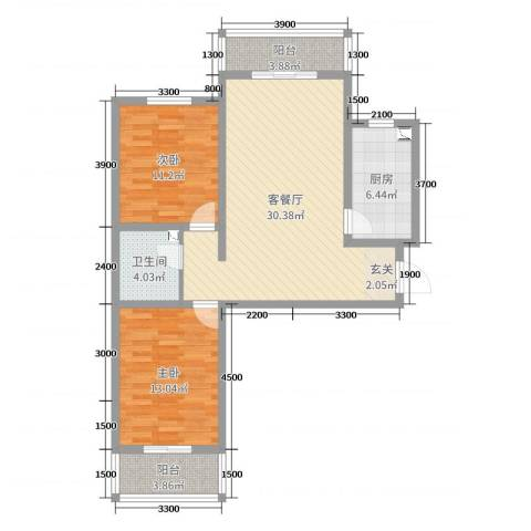 城市花园2室2厅1卫1厨95.00㎡户型图