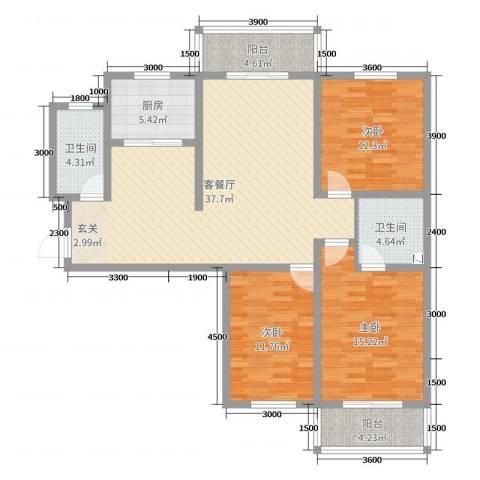 城市花园3室2厅2卫1厨128.00㎡户型图