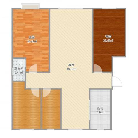 炬山花苑2室1厅1卫1厨140.00㎡户型图