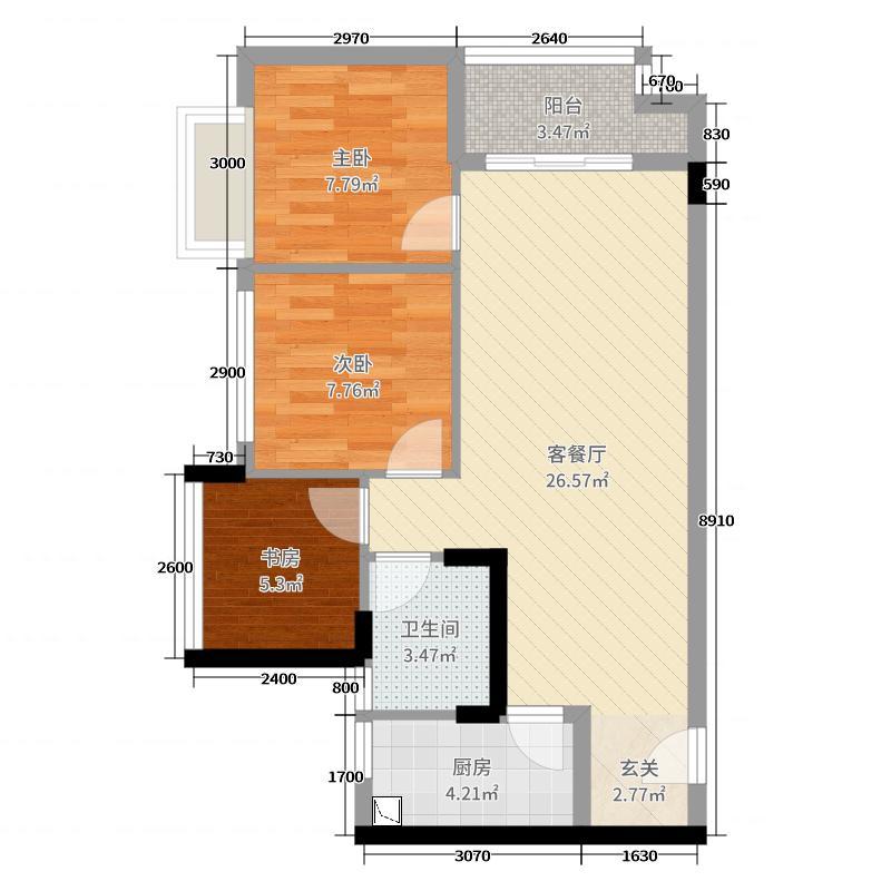 中骏四季阳光75.00㎡三期B户型3室3厅1卫1厨