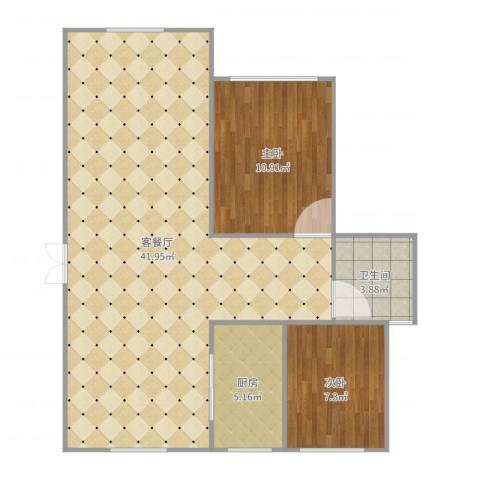大观名园2室2厅1卫1厨87.00㎡户型图