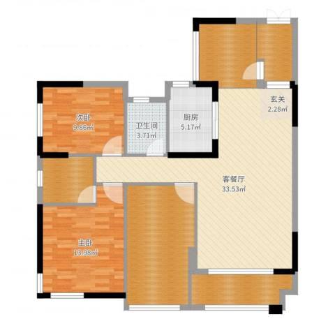 紫鑫御湖湾2室2厅1卫1厨125.00㎡户型图