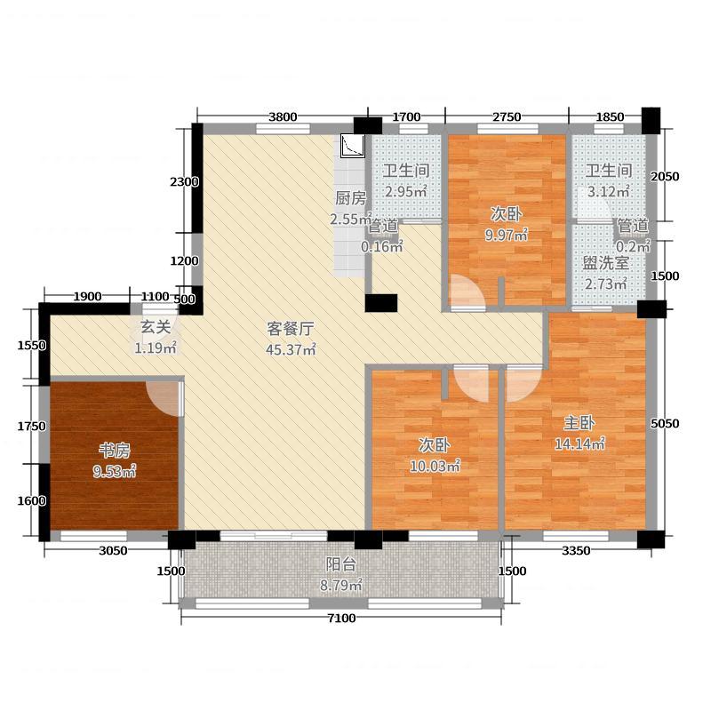 鲁能领秀城143.00㎡鲁能平面E户型3室3厅2卫1厨