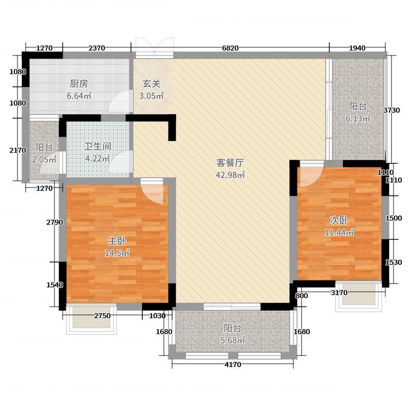 东方今典观澜117.05㎡1#、2#楼D1户型3室3厅1卫