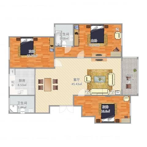 城市港湾3室1厅2卫1厨161.00㎡户型图