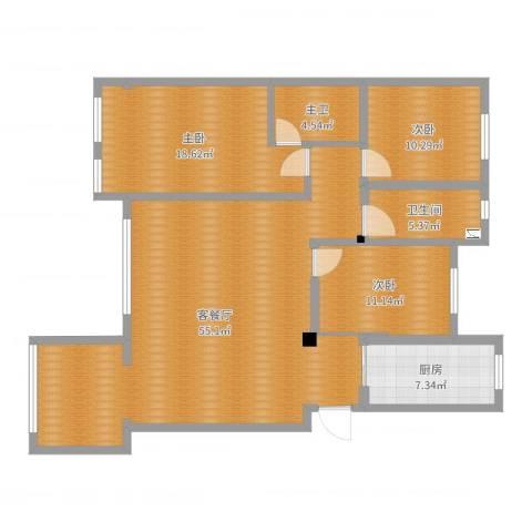 龙泽花园3室2厅1卫1厨140.00㎡户型图