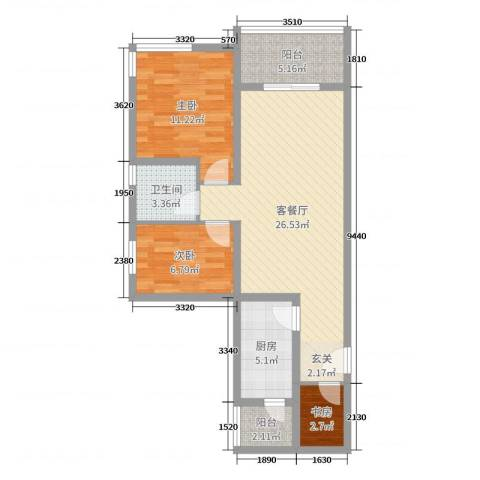 祈福聚龙堡3室2厅1卫1厨79.00㎡户型图