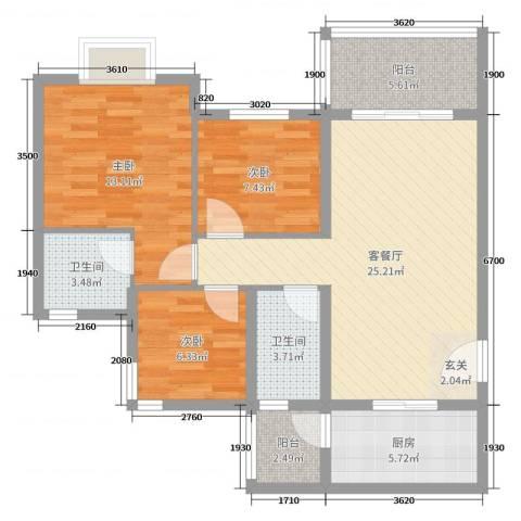 祈福聚龙堡3室2厅2卫1厨90.00㎡户型图