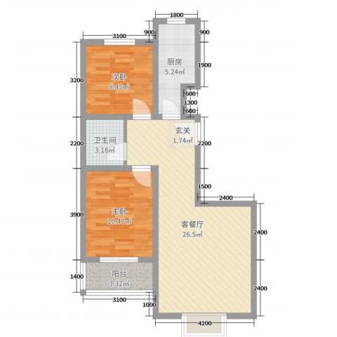 春城国际2室2厅1卫1厨82.00㎡户型图