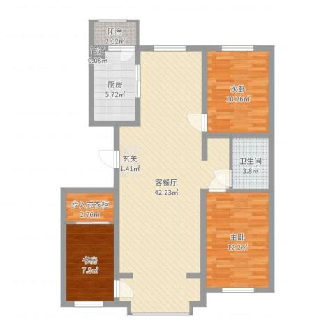 恒盛花园3室2厅1卫1厨108.00㎡户型图