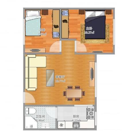 南洲路公安宿舍2室2厅1卫1厨55.00㎡户型图