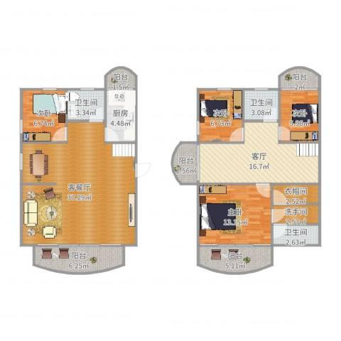 阳鸿新城65号之37014室3厅3卫1厨153.00㎡户型图