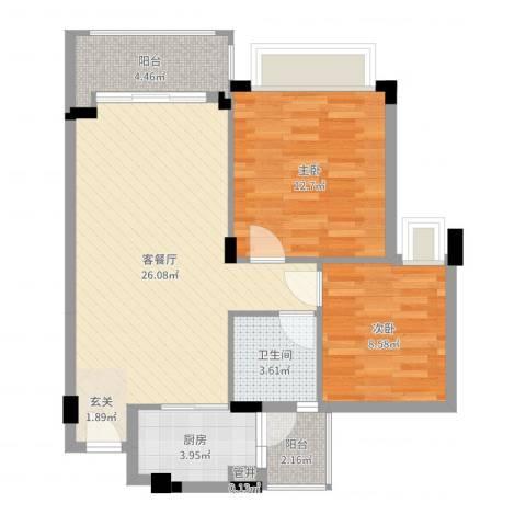 大信芊翠家园2室2厅2卫1厨77.00㎡户型图
