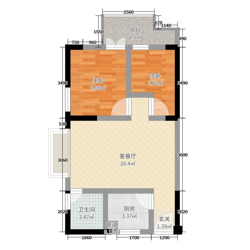 鑫恒香廷63.71㎡B3户型2室2厅1卫1厨